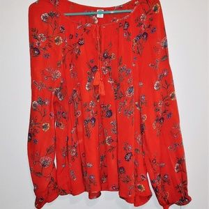 Red floral boho top